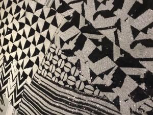 Tejidos geométricos de paillette en blanco y negro